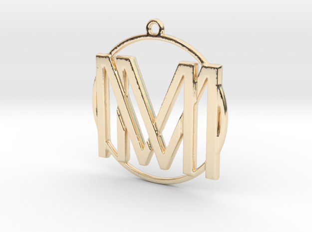 M&M Monogram Pendant in 14k Gold Plated Brass