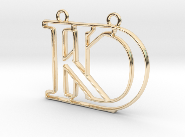 D&K Monogram Pendant in 14k Gold Plated Brass