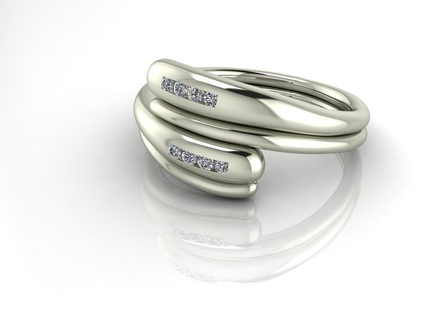 Arty dress ring in Fine Detail Polished Silver