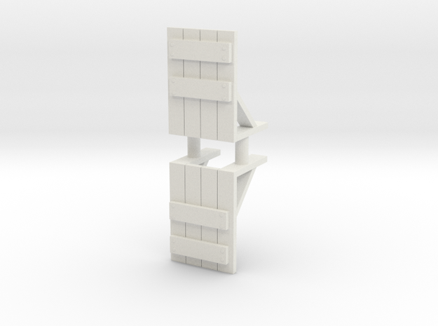 Wooden Barricade (x2) 1/100 in White Natural Versatile Plastic
