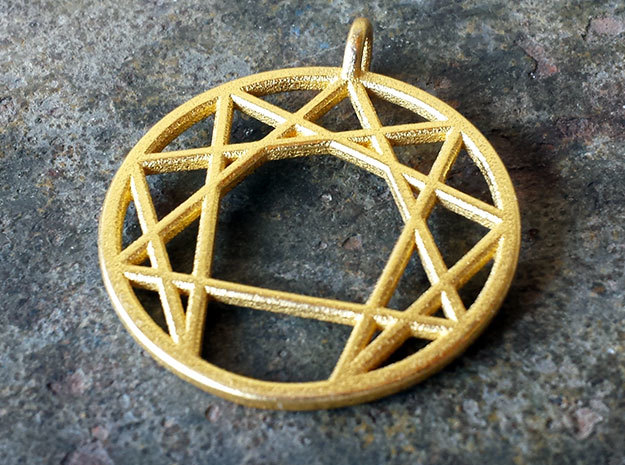 Holy Mountain Pendant in Polished Gold Steel