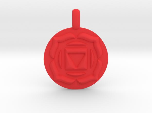 BASE ROOT Chakra Muladhara Symbol Pendant in Red Processed Versatile Plastic
