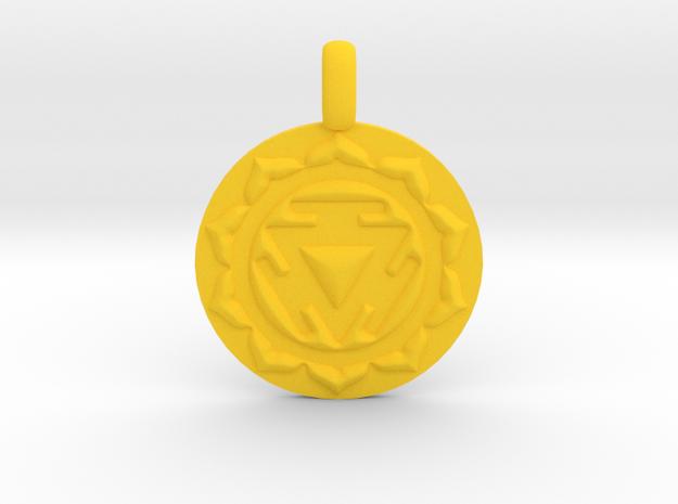 SOLAR PLEXUS MANIPURA Chakra Symbol Pendant in Yellow Strong & Flexible Polished