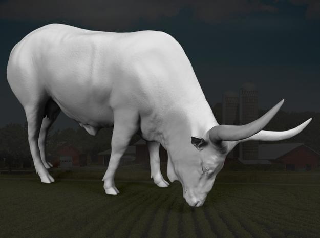 Ankole-Watusi 1:22 Grazing Female in White Strong & Flexible