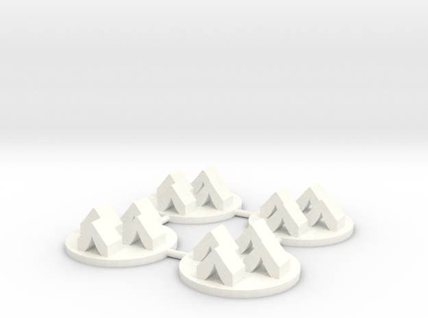 Army Camp Token, 4-set in White Processed Versatile Plastic