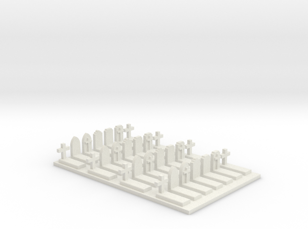 N Scale Cemetery Graves Graveyard (L) 1:160 in White Natural Versatile Plastic
