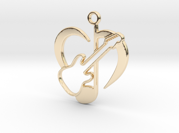 Love Music & guitar pendant in 14k Gold Plated Brass