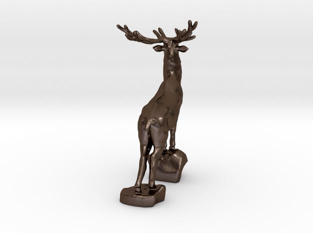Noble deer in Polished Bronze Steel
