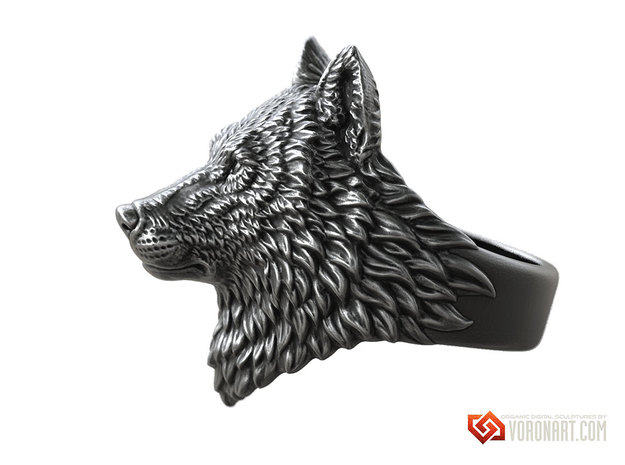 Proud Wolf animal head ring jewelry