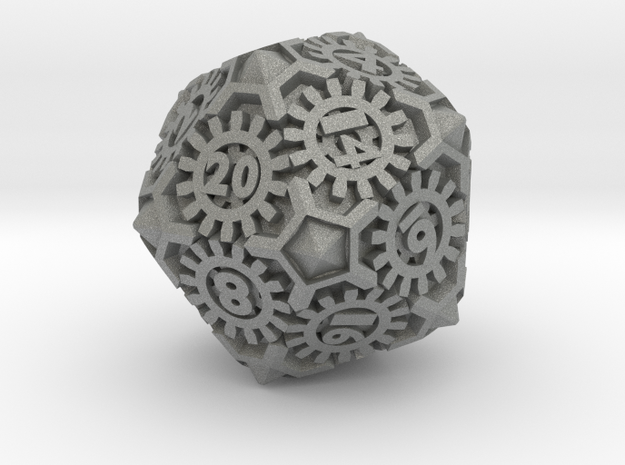 Steampunk D20 in Gray PA12: d20