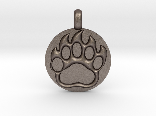 BEAR PAWN Animal Totem Jewelry pendant  in Polished Bronzed Silver Steel