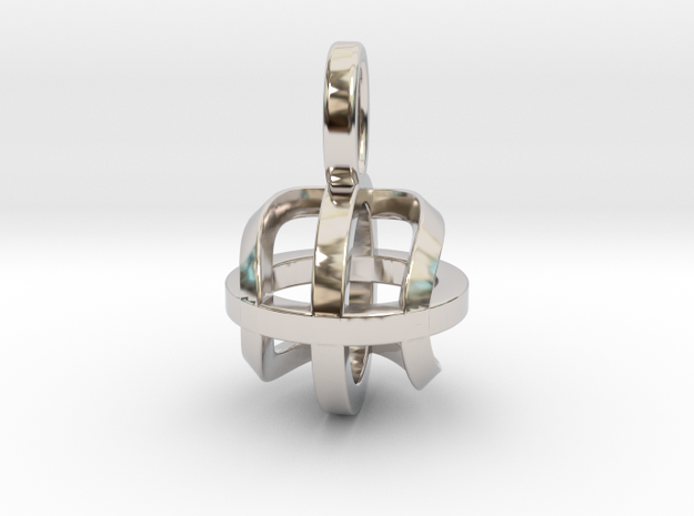 Tennis Sphere XY (Pendant) in Rhodium Plated Brass