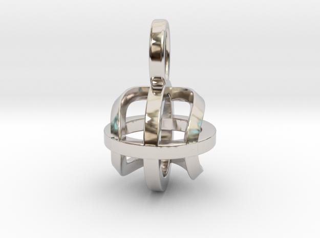 Tennis Sphere XY (Pendant) in Rhodium Plated Brass