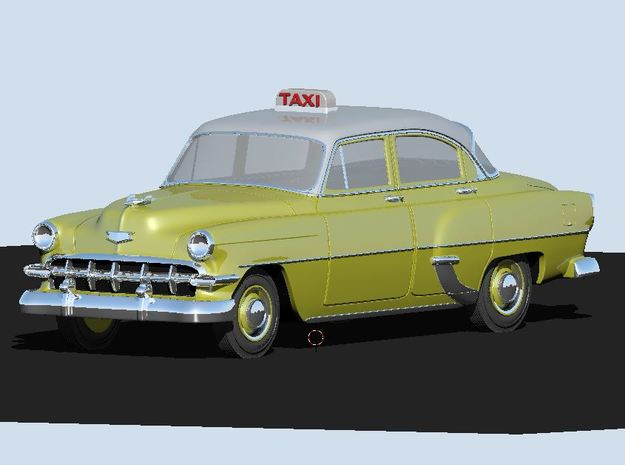 1954 Chevy Taxi in White Natural Versatile Plastic