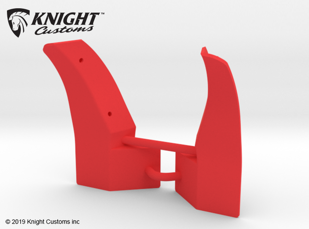 KCLD006 Delta Mudflaps FRONT in Red Processed Versatile Plastic