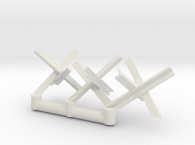 Tank Trap set (x3) 1/72 in White Natural Versatile Plastic