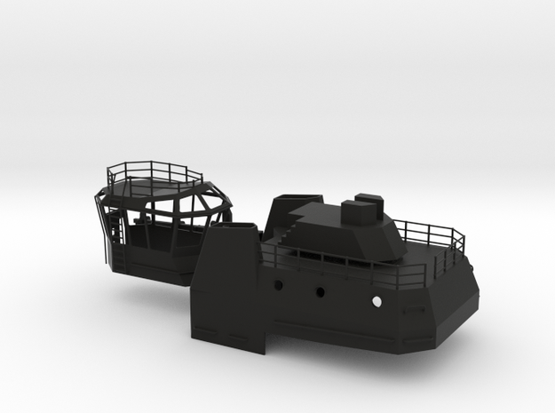 1/96 scale Tug Justice Structure and Bridge in Black Natural Versatile Plastic