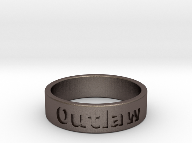 Outlaw Mens Ring 20.6mm Size11 in Polished Bronzed Silver Steel