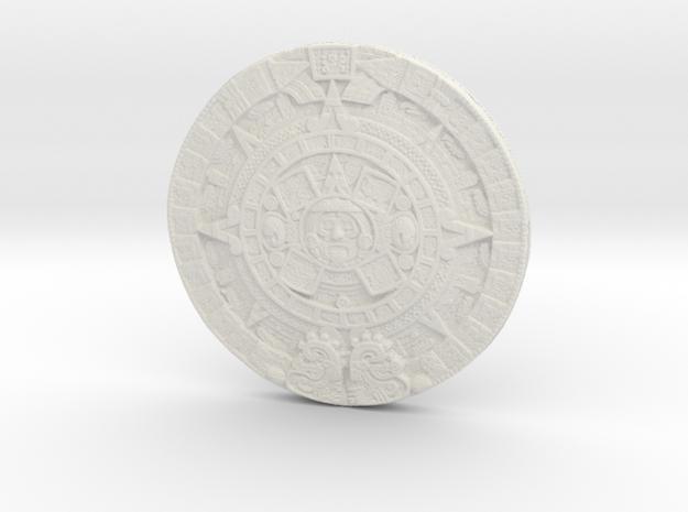 Aztec Calendar Coin in White Strong & Flexible