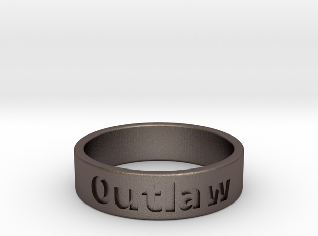 Outlaw Mens Ring 19.8mm Size10 in Polished Bronzed Silver Steel