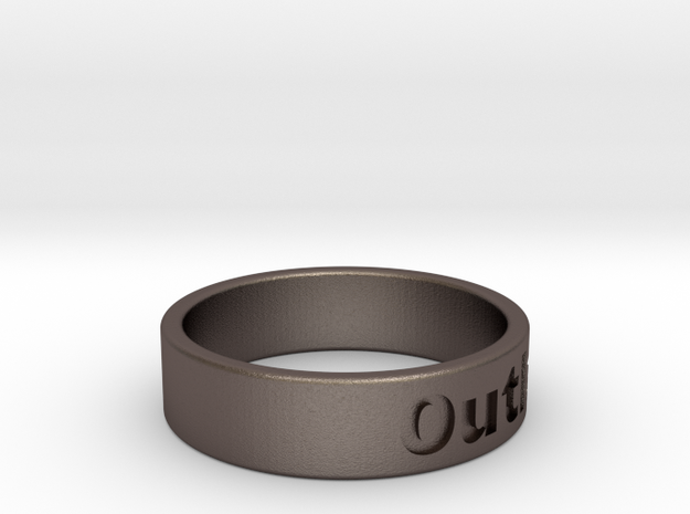 Outlaw Mens Ring 21.3mm Size12 in Polished Bronzed Silver Steel