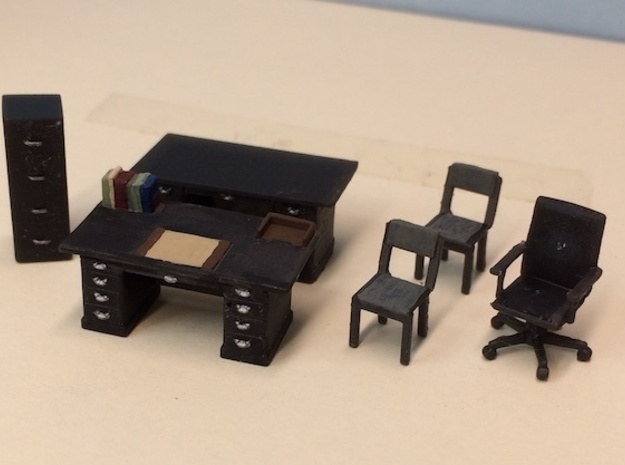 Office Furniture Set in Smoothest Fine Detail Plastic: 1:64 - S