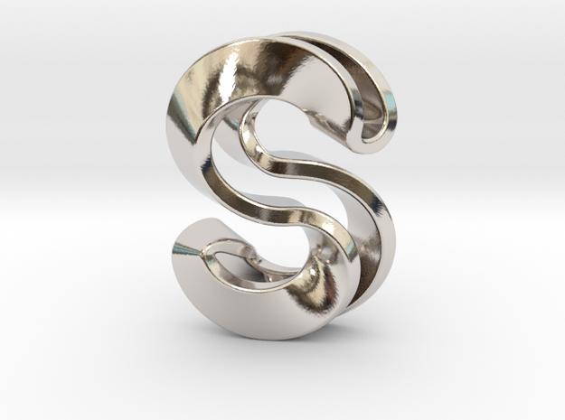 S Pendant_2 in Rhodium Plated Brass
