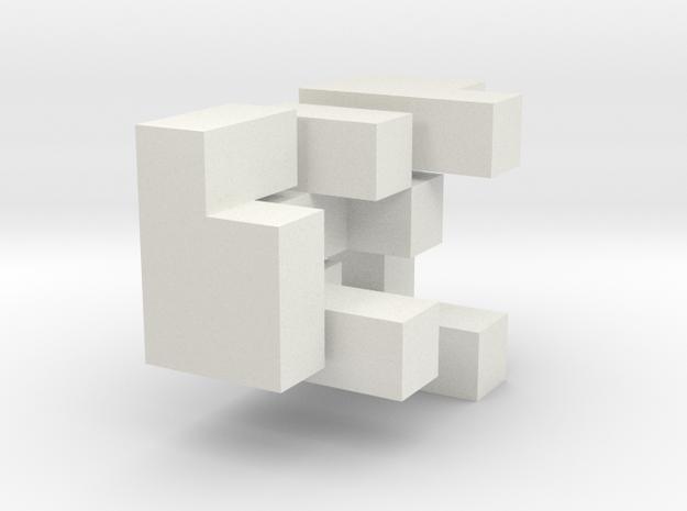 3D Puzzle Cube in White Natural Versatile Plastic