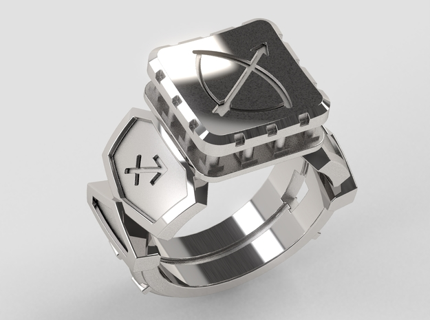 Sagittarius Ring in Polished Silver: 10 / 61.5