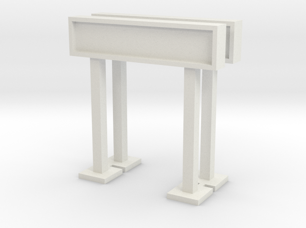 OO/HO Station Signs (Type 1, Short) x2 in White Natural Versatile Plastic