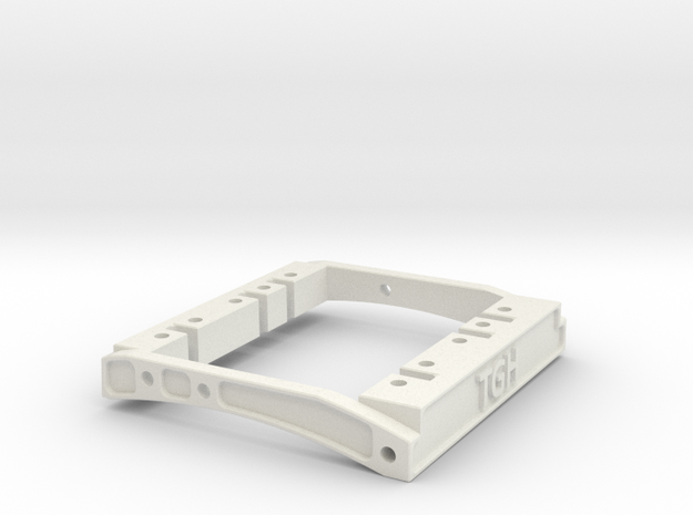 TGH Dual Servo Mount for 73mm Wide Bumper Mounts in White Natural Versatile Plastic
