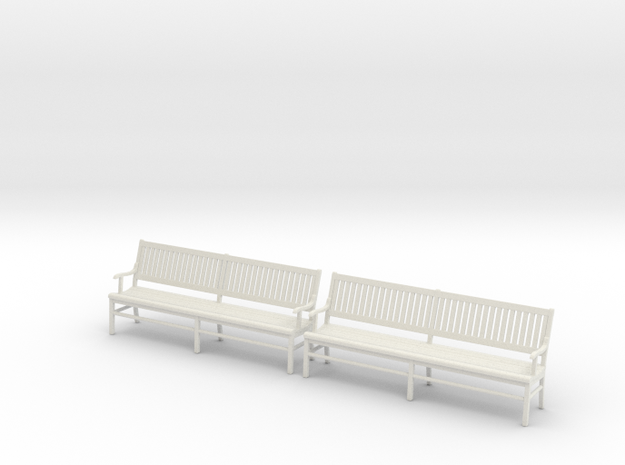 Wood Bench 02. 1:24 Scale in White Natural Versatile Plastic