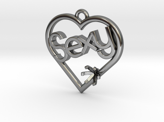 """Heart Pendant """"Sexy"""" (Offset 4.28mm) in Fine Detail Polished Silver"""