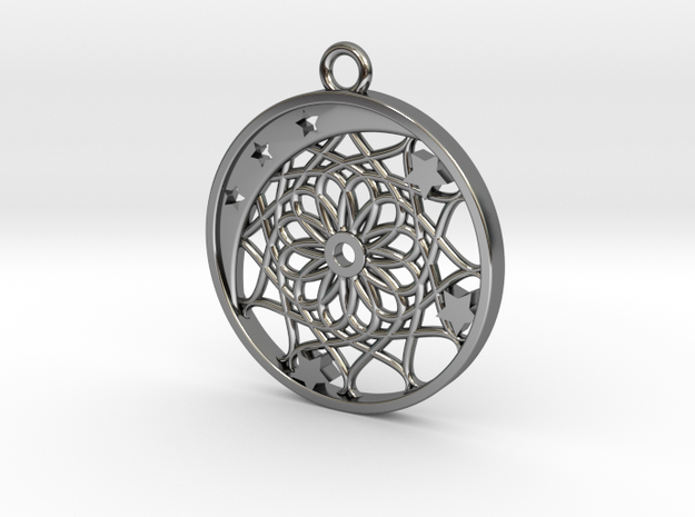 Moon, Stars and Dream Catcher Pendant in Fine Detail Polished Silver