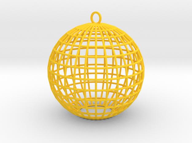 contemporary bauble ornament in Yellow Processed Versatile Plastic