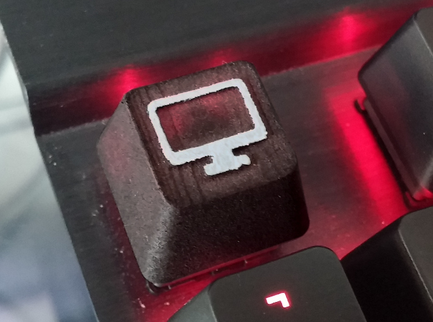 "Cherry MX Computer Keycap 3d printed I bought this in ""White strong & flexible"" and then dyed and painted it myself"