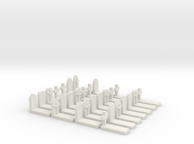 O Scale Cemetery Graves Graveyard (L) 1:43 in White Natural Versatile Plastic