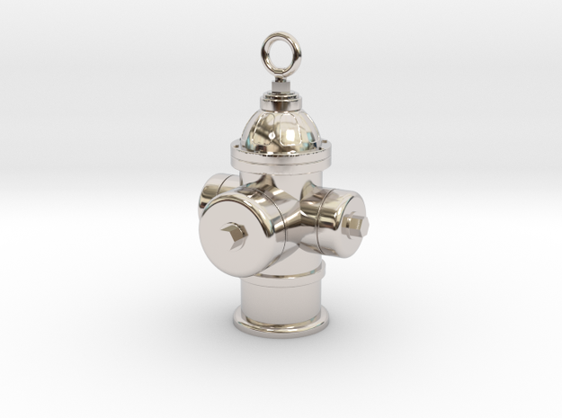 Fire Hydrant Charm (Pendant) in Rhodium Plated Brass