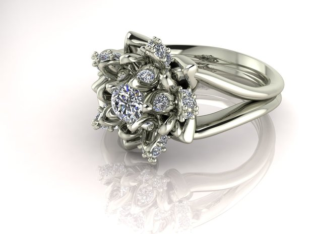Flower ring size 5.5 NO STONES SUPPLIED in 14k White Gold