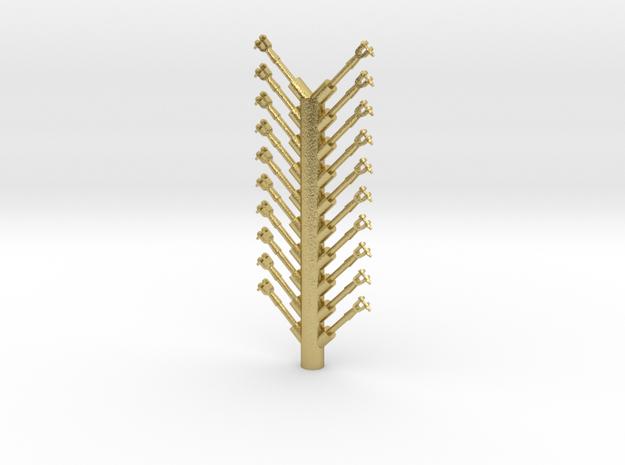 PRR Steam Engine Handrail Stanchion Sprue in Natural Brass
