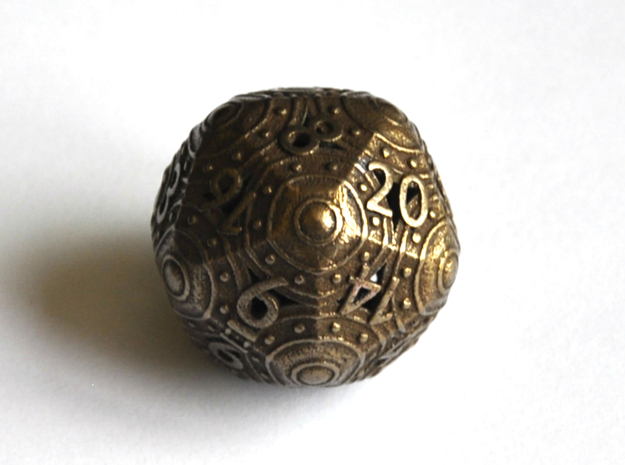 D20 Balanced - Shield (Big Numbers) in Polished Bronze Steel