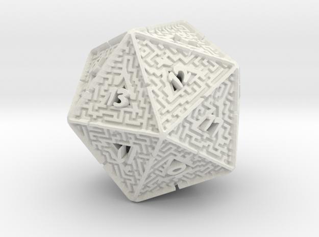 20 Sided Maze Die V2 in White Natural Versatile Plastic