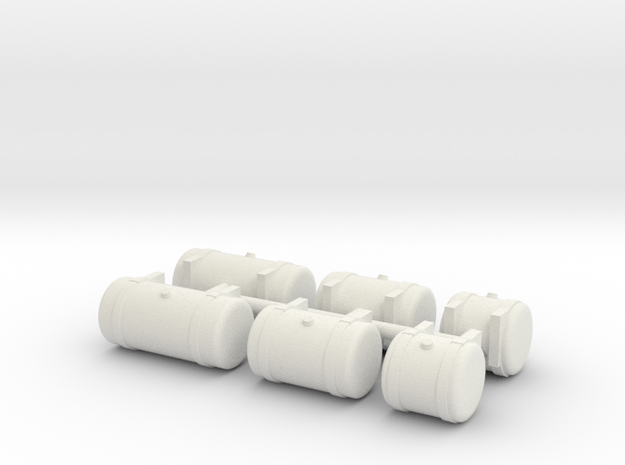 1/64th Builders Pack of 6 truck fuel tanks in White Natural Versatile Plastic