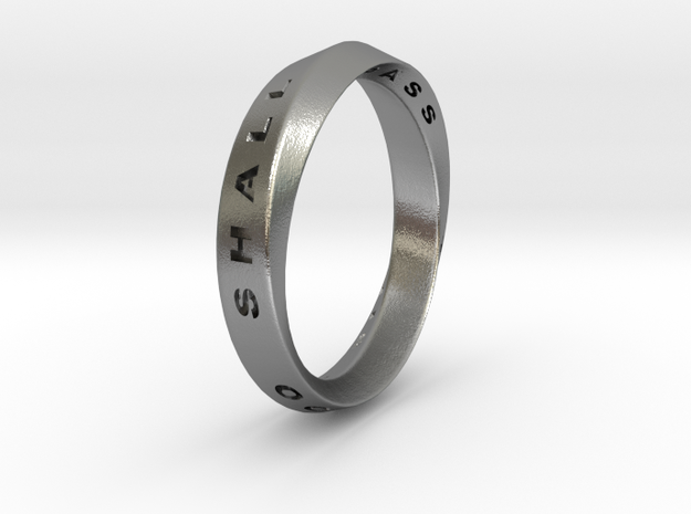 This Too Shall Pass Ring mobius ring v1 in Natural Silver: 10 / 61.5