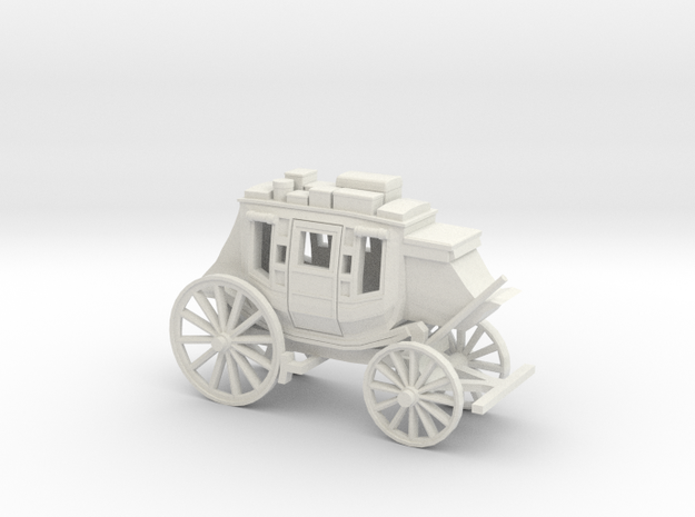 HO Scale Stagecoach in White Strong & Flexible