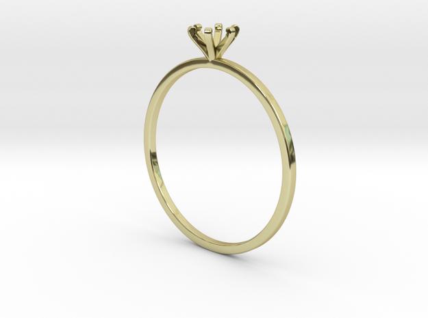 Plain Size 7 Ring - 4mm Gem - 6 prong - v1 in 18k Gold