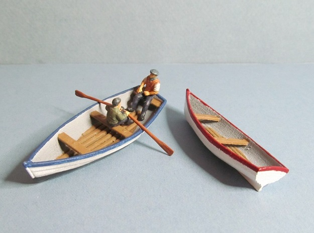 4 mm Scale Rowing Boats X2 in White Natural Versatile Plastic