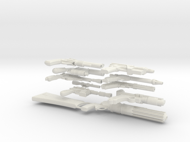 Assorted blaster collection 1:6 scale in White Natural Versatile Plastic
