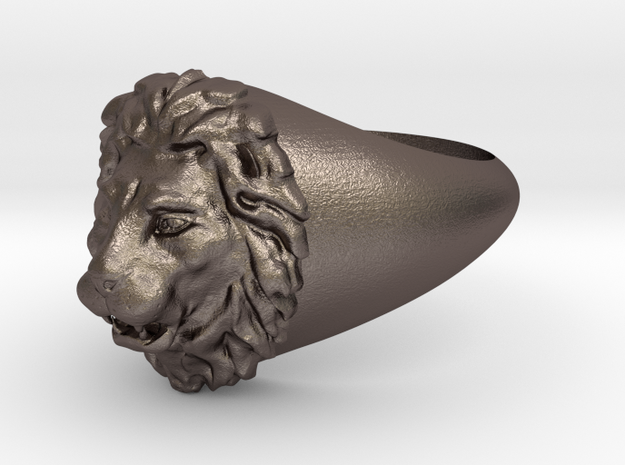 Lion Ring in Polished Bronzed-Silver Steel