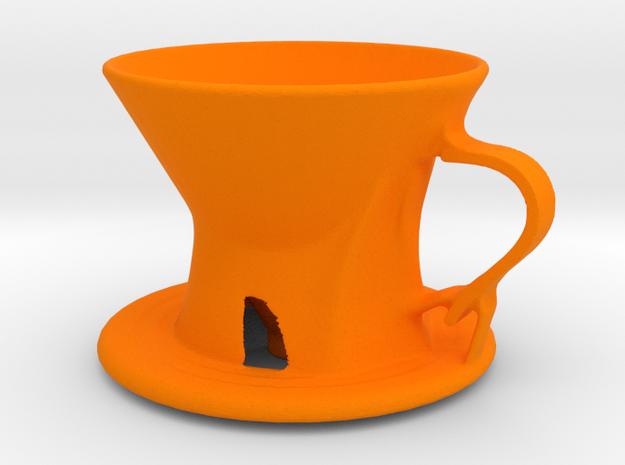Generative Designed Coffee Dripper_S01 in Orange Processed Versatile Plastic
